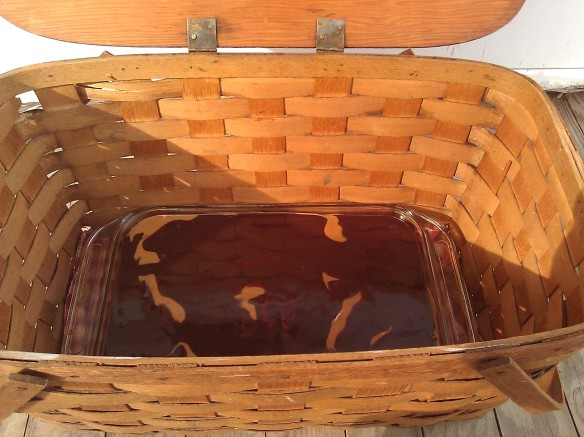 picnic basket with cake
