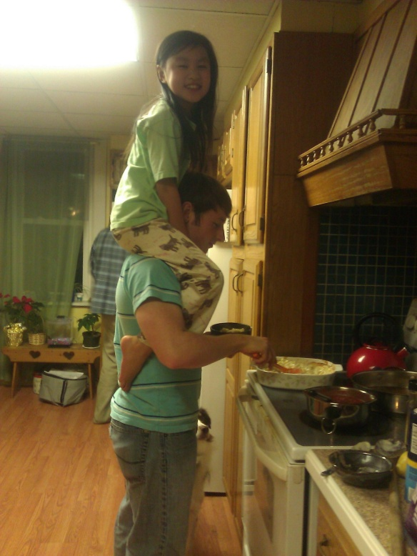 Jenna on Tyler's shoulders