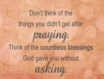 Blessings without Prayer